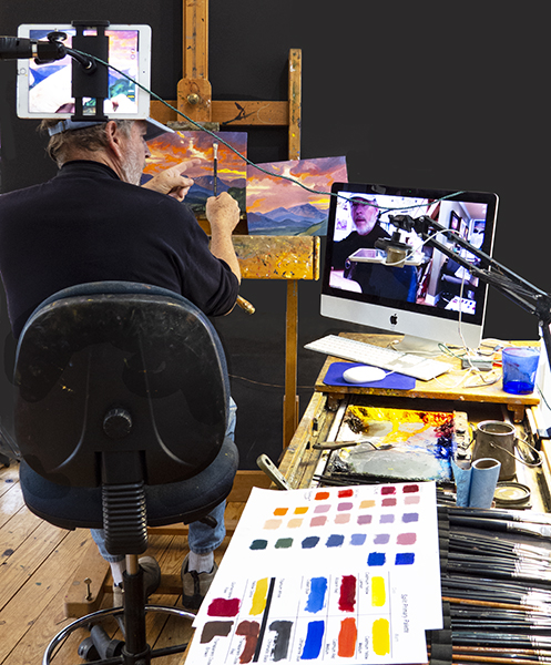 Photograph of John Hulsey doing a Zoom Painting Workshop