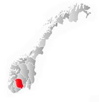 Map showing Telemark County in Norway