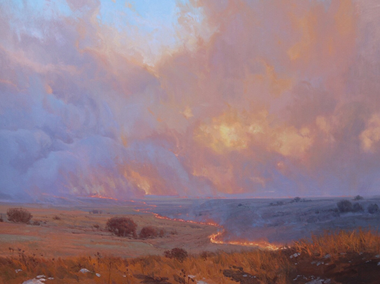 oil painting of fire on the prairie © Michael Albrechtsen