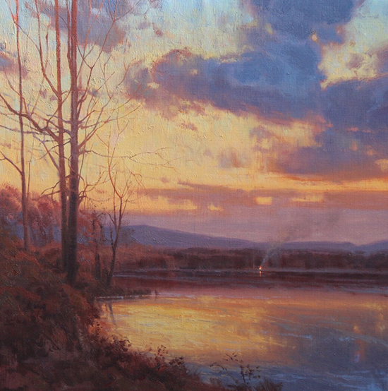 oil landscape painting of lake at dusk, Secluded Reverie, ©Michael Albrechtsen