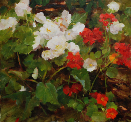 Begonias and Geraniums by Kathy Anderson