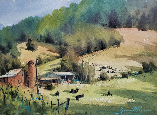 "Hillside Farm, 9 x 12"", WC, © Brienne Brown"