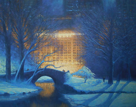 "Moonlit Evening, Central Park and the Plaza, Oil, 22 x 28"", © Michael Budden"