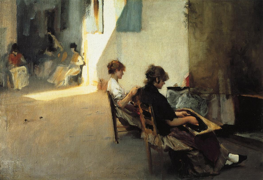 oil painting of Venetian women making lace by Sargent