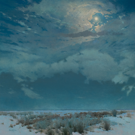 "A Winter Moon Not to Waste, 36 x 36"", Oil, © David Griffin"