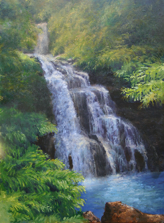 Oil painting of waterfall in Hawaii by M. Stephen Doherty