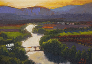 oil painting of The Dordogne River, by John Hulsey