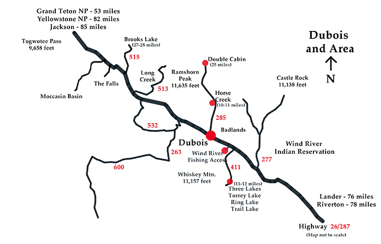 Map of Public Painting Locations near Dubois, WY