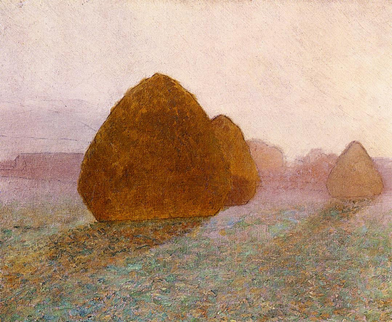 Oil Painting of Haystacks at Giverny by John Leslie Breck