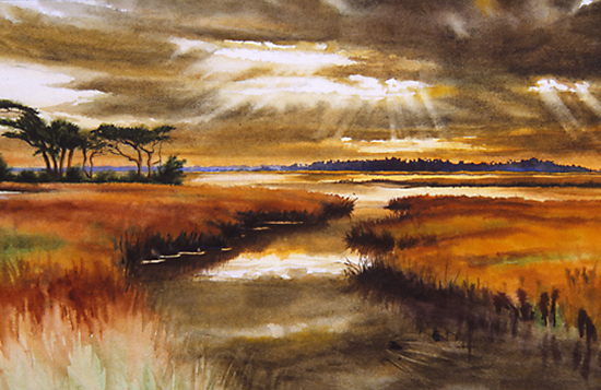 Watercolor painting of the South Carolina Lowcountry by John Hulsey