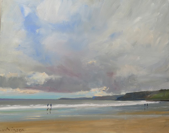 oil painting of ocean beach at Scarborough © Malcolm Ludvigsen