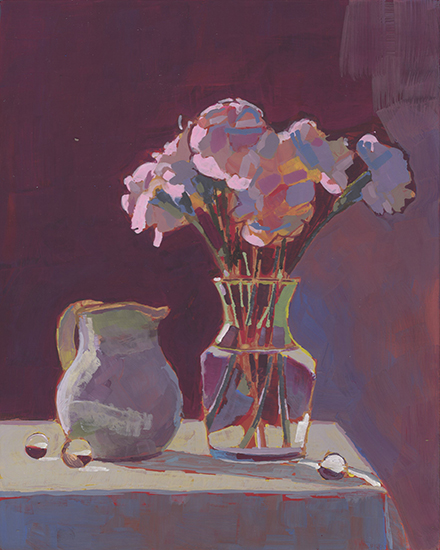 "3 The Little White Jug, 10 x 8"", second color notes, Casein on Panel, © Mary Nagel Klein"