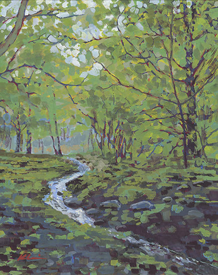 "Woodland Brook, 10 x 8"", Casein on Panel, © Mary Nagel Klein"
