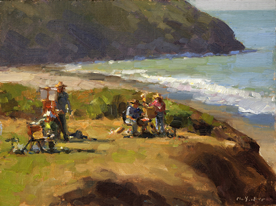 oil painting of artists on bluff