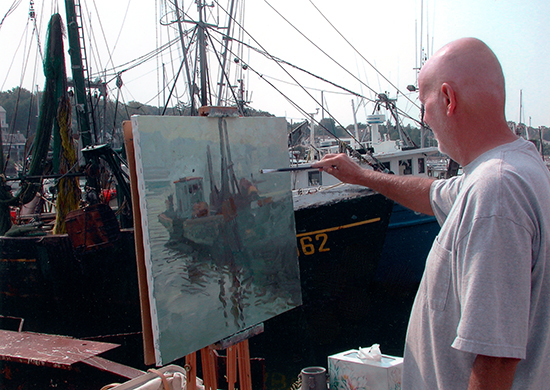 Photograph of C. W. Mundy Painting in Gloucester