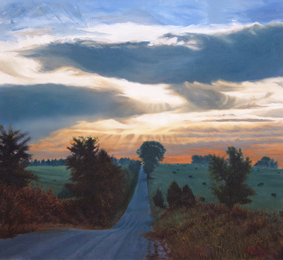 oil painting of country road and shadows by John Hulsey
