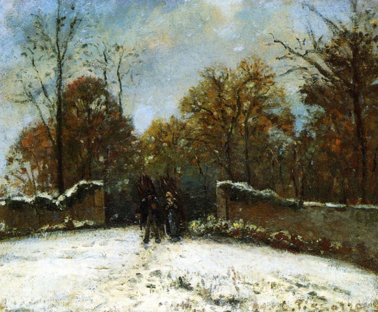 Winter painting by Pissarro