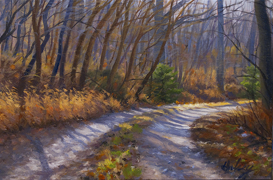 oil painting of winter trees by John Hulsey