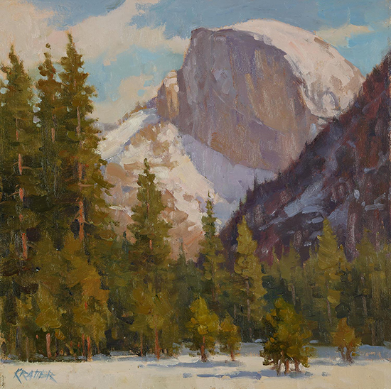 "Half Dome with Winter's Cap, 12x12"", oil, © Paul Kratter"