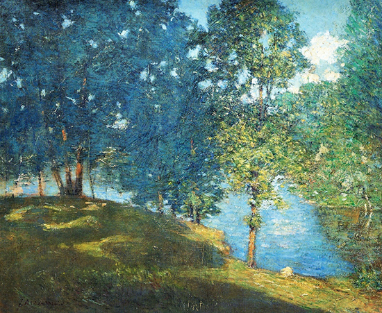oil painting of pond landscape painted on canvas by artist Julian Alden Weir
