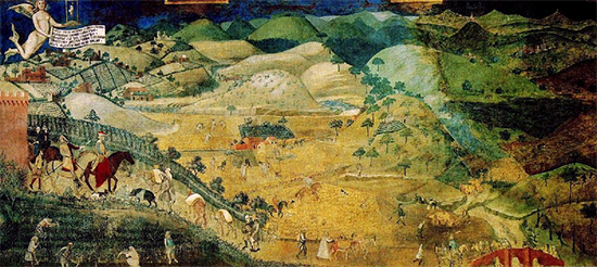 The Effects of Good Government in the Countryside, 1338, Fresco, City Hall of Siena, Ambrogio Lorenzetti