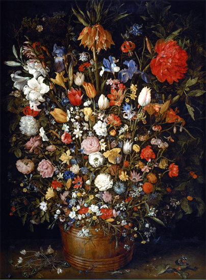 Flowers in a Wooden Vessel, 1606, Jan Brueghel the Elder