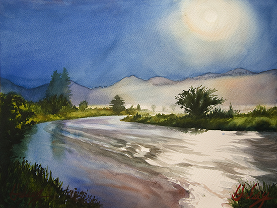 watercolor painting, Full Moon, Moraine Park, © John Hulsey