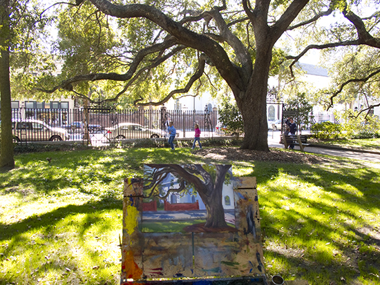 Photo of John Hulsey plein air painting in Charleston, SC