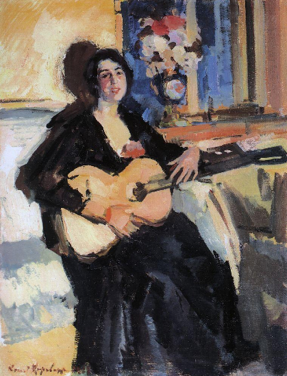 Oil Painting of a Lady with a Guitar, 1911, Konstantin Korovin.jpg