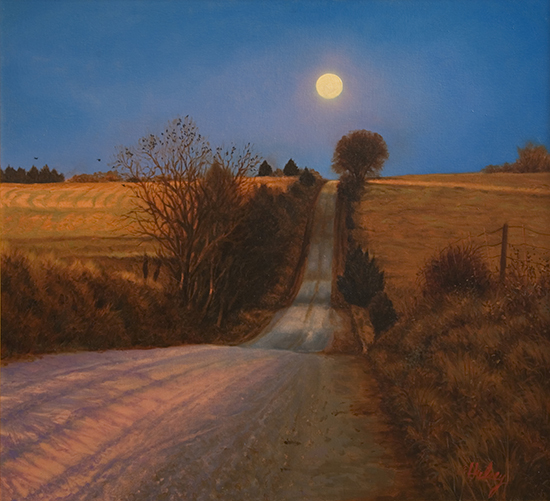 oil painting, Moonrise Road ©John Hulsey