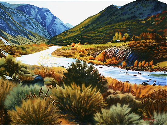New Mexico Landscape watercolor by John Hulsey