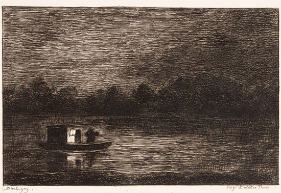 Night Voyage, 1861, Charles-Francois Daubigny, plate from boo