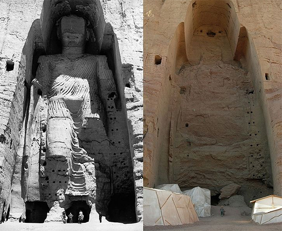 Taller Buddha of Bamiyan Before and After Destruction (Wikipedia)