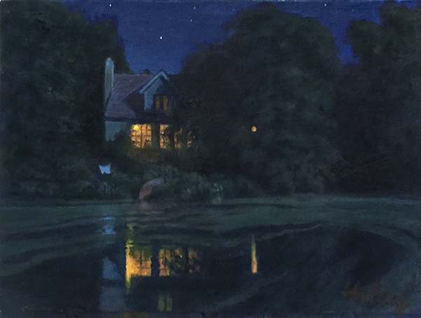 The Conversation, nocturne oil paintingof cottage on a pond, by John Hulsey