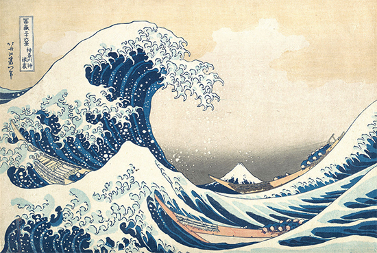 The Great Wave off Kanagawa, ca. 1829-33, Color Woodblock, Hokusai