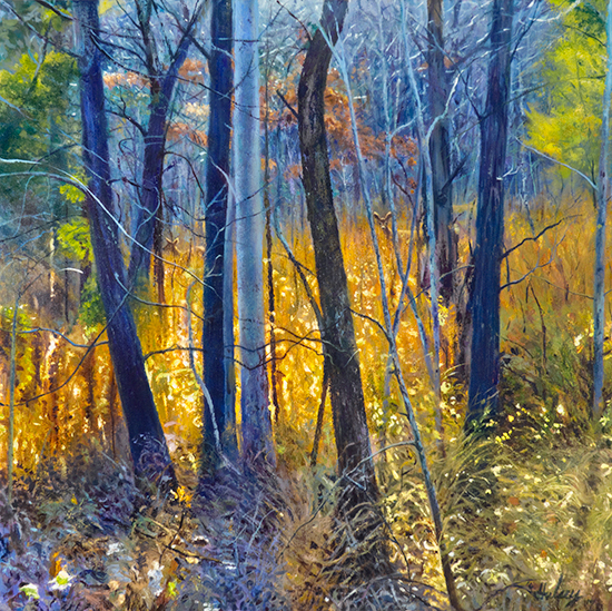 oil painting of forest and deer, Transcendence, by John Hulsey