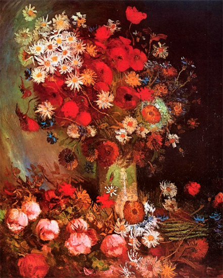 Vase with Poppies, Cornflowers, Peonies and Chrysanthemums, 1886, Vincent van Gogh