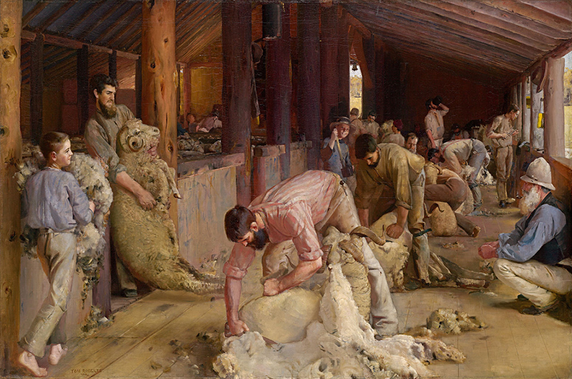 oil painting of ram shearing by Tom Roberts