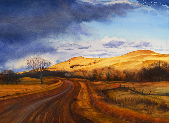 Prairie Storm watercolor by John Hulsey