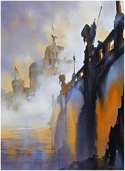 Fog on the Tiber Rome 30 x 22 WC Thomas Schaller