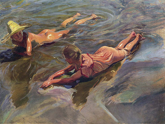 Oil painting of children lying on a beach by Joaquin sorolla
