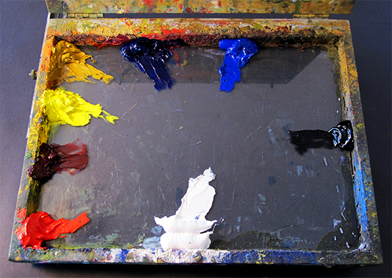 photo of 6-color plein air palette
