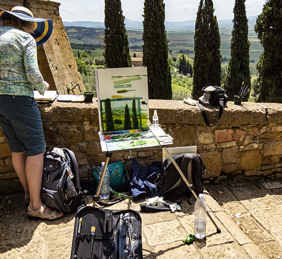 John's First Pienza Watercolor Demonstration