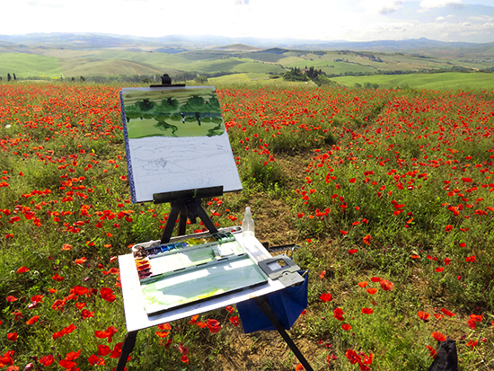 Setting up to Paint in the Poppies © J. Hulsey