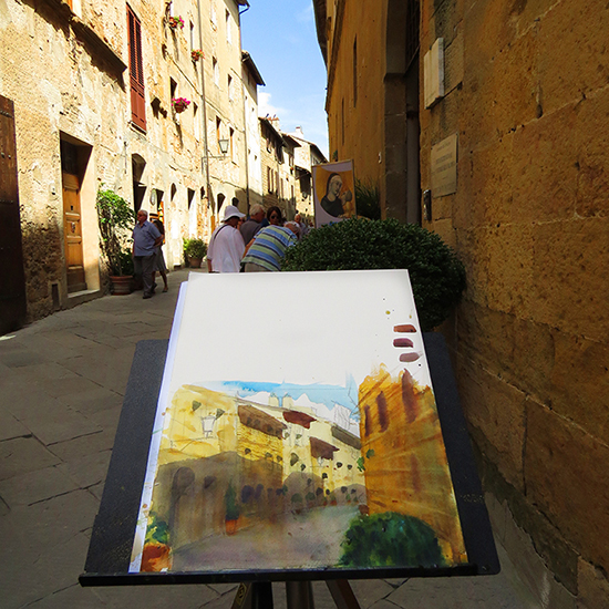 Photo of watercolor demonstration in Pienza, Italy. © A. Hulsey