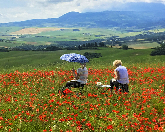 Artists in Red Poppies in Tuscany Italy, John Hulsey Workshop