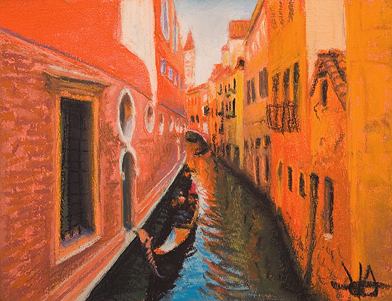 patel painting of gondola on Venitian canal, by John Hulsey