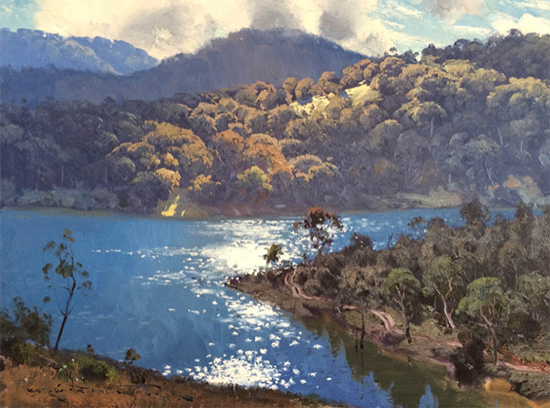 Morning Light on Lake Lyall 45 x 60 cm © Warwick Fuller