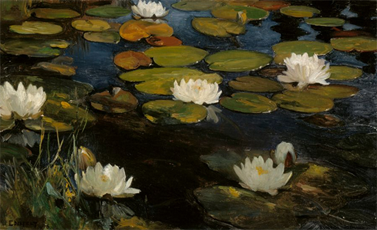 Water Lilies Study for the Youth and a Mermaid, Albert Edelfelt